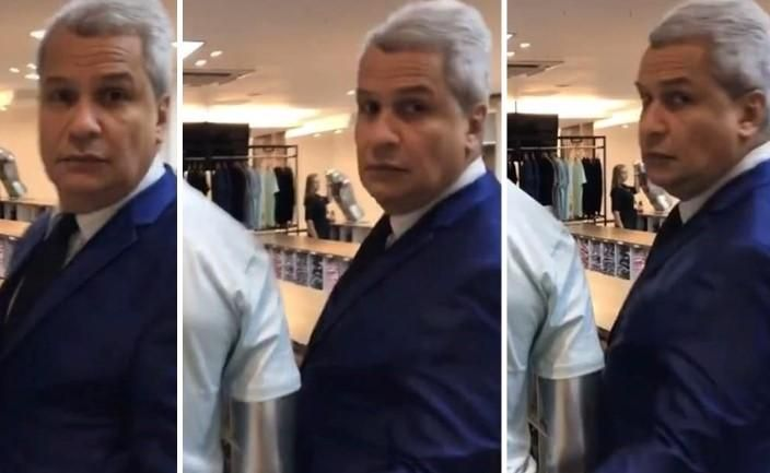 Apresentador é flagrado 'apalpando' bunda de manequim em loja; veja