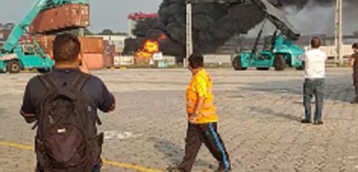Raio atinge contêiner próximo ao porto Chibatão e causa incêndio