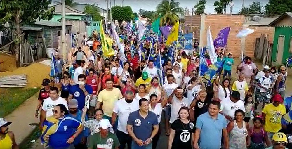Multidão declara apoio à candidatura de Nildo Colares do PSL, em Borba
