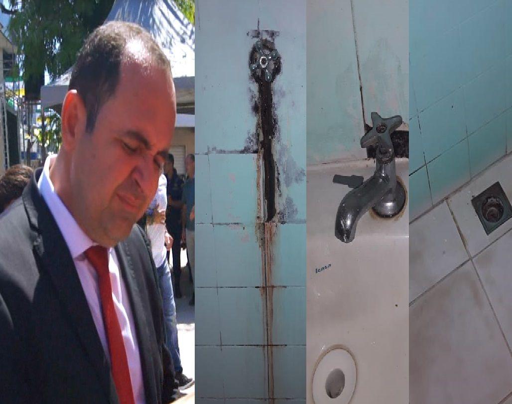 Tefeenses cobram Normando de recurso da saúde e compartilham fotos do banheiro do Hospital 'podre'